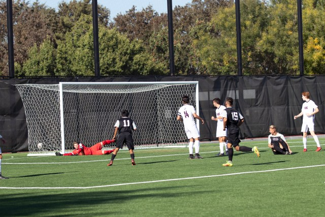 San Joaquin Delta College's Mustangs score a goal against American River College Beavers. Photo by Nuntida Sisavat