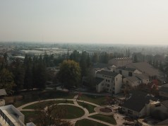Aerial shot of smoky air quality above Shima and SCMA building on Delta's campus. Photo by Catlan Nguyen.