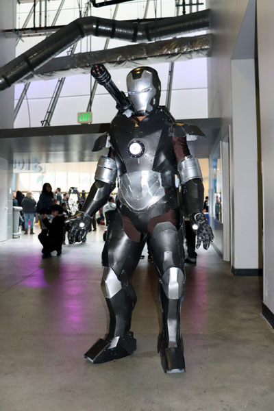Michael Ray makes his first convention debut dressed as War Machine from Iron Man at StocktonCon on Jan. 20, 2018. Photo by Jasmine Gonzalez.