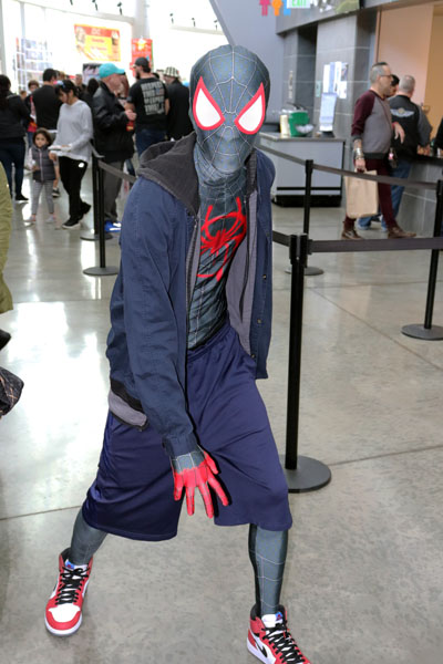 "Barry Tisdale dressed as Miles Moralis the newest Spiderman from ""Into the Spiderverse."" Photo by Jasmine Gonzalez."