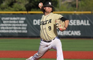Kevin Kyle thows a pitch against De Anza