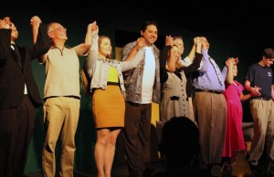 From Left to Right: Cast members Jc Costa, Mike Moon, Esther Henderson, R. Isarael Rodriguez, Cindy Braden, David Qualls, Cole Bryant, Mearle Mog and Derick Stoker take a bow after another performance. Photo by Catlan Nguyen
