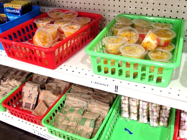 Food stocked on shelves in Delta College's food pantry in Stockton, Calif. on Oct. 2. Photo by Hannah Workman.
