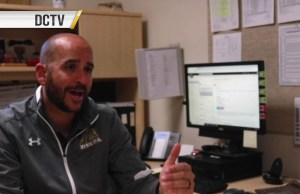 Delta Athletic Director Tony Espinoza gives an interview to David Victor, an RTV student and Collegian reporter. Screenshot courtesy RTV.