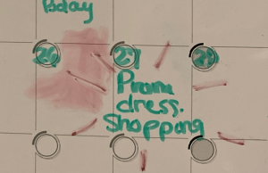 March calendar showing plans for prom dress shopping. Courtesy Photo from Emily VanDam.