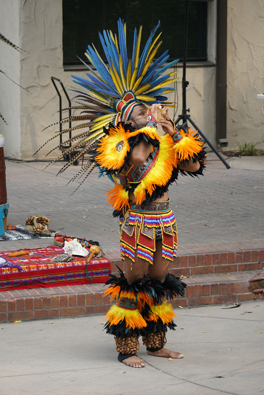 Indigenous People's Day, organized by Delta College Art Professor Mario Moreno, celebrated Native American cultural traditions. Traditional dances were performed by Val Shadowhawk. Linda Garcia Medina, a.k.a. Mama Yaqui, sang a Native American song. Photo by Dominique Williams