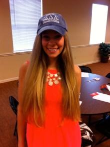Emily won a Tri Delta baseball cap
