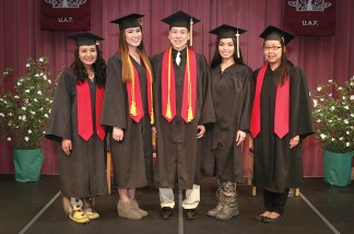 Associate of Arts Degree recipients. From left are Alicia Jane Oscar, Jesslyn McGowan, Gerald J. Anvil, Jennieve Benavente, and Gloria J.A. Cleveland.
