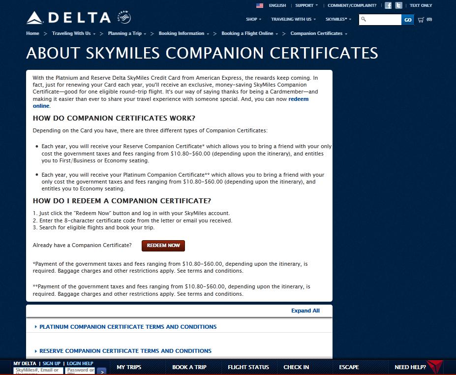 $99 Delta AMEX GOLD Companion Certificate perk to end 25JAN2013! + ...