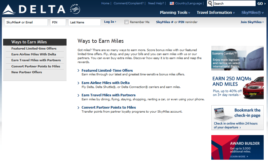 how to get delta miles