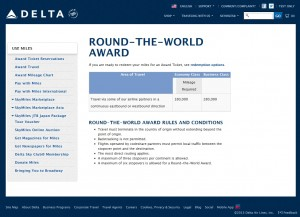 delta airlines round the world skymiles chart 180000 on sale for 162000