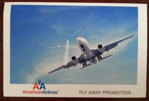 fake win airline tickets frontside of post card