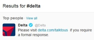 if you click on delta on twitter you get this