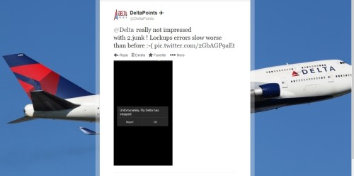 tweet about Delta 2-2 app upgrade