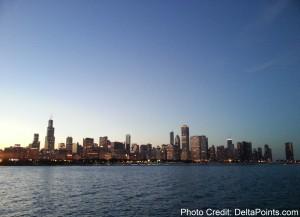 chicago skyline at night via segway tour delta points blog