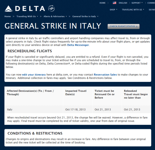 strike in italy