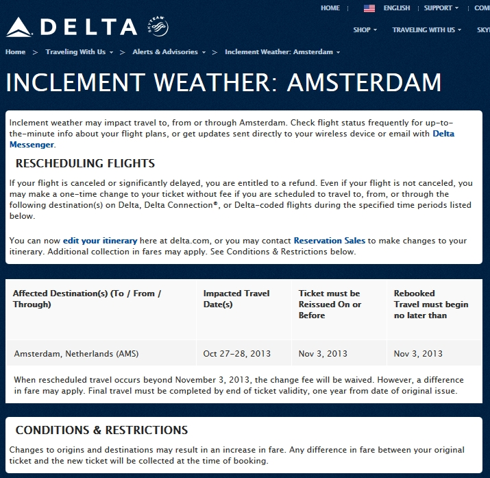 WEATHER ALERT: Amsterdam 27&28OCT AMS Schiphol Airport