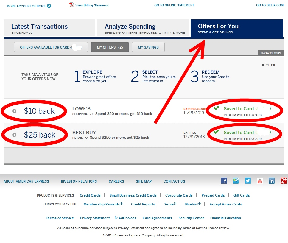 BIG savings via AMEX \
