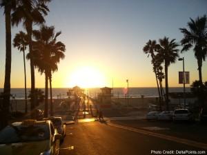 sunset at manhattan beach LAX Mileage Run Delta Points travel blog rene MKE to LAX (7)