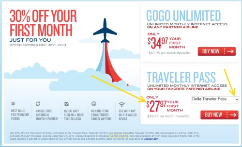 great year end discount for GoGo on Delta airlines delta points blog