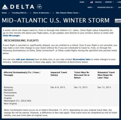 mid-atlantic us winter storm weather waver delta airline delta points blog