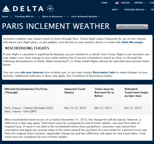 paris inclement weather delta free change