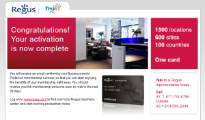 regus and tripitpro activation done