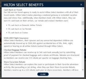 HiltonSelect perks 5percent cash back