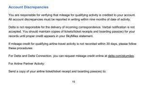 account discrpancies from delta 2014 skymiles membership guide