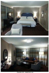 jr suite club level sheraton iah delta points lower floor bed and lounge area