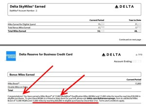 rene has earned 1st of 4 MQM bonus for year on delta amex reserve cards