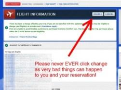 should you use change flight option on delta-com - NO