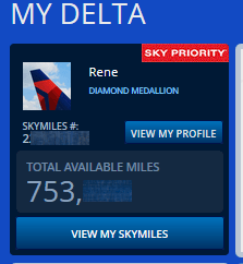 my current skymiles totals