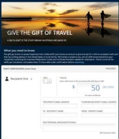 screen shot of a 50 dollar delta airlines e-gift cert from delta points blog swag saturday