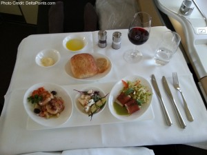 3 choice appetizer lufthansa 747-8 1st class delta points blog