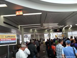 boarding area Lufthansa 747-8 chicago ord delta points blog