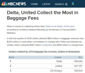 delta air lines collects the most in fees and bag fees start of 2014