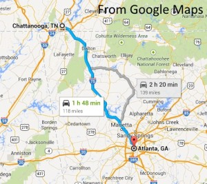 map from atlanta to chattanooga