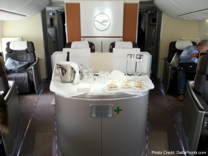 service station lufthansa 747-8 1st class delta points blog