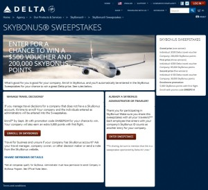skybonus sweepstakes from Delta