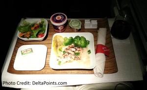 chicken dinner ATL-LAX domestic Delta on  international 777 delta points blog