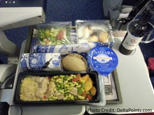 nasty chicken -ish dinner klm economy comfort ams-atl delta points blog