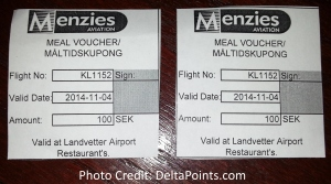 food vouchers we could not use due to delayed klm flight