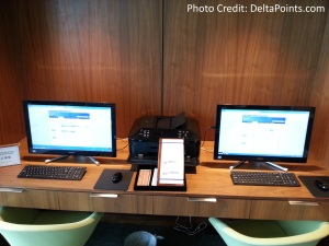 Centurion Lounge LGA LaGuardia Airport american express delta points blog computers and printer