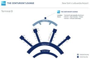 map to centurion lounge lga amex