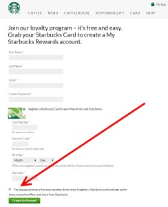join starbucks loyalty program