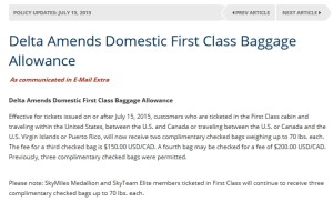 delta bag policy update