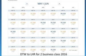 dtw to lhr june 2016