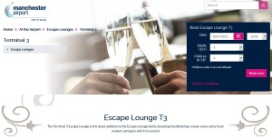 escape lounge t3 manchester airport web page