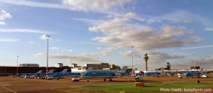 lots of KLM reginal jets parked at AMS airport Delta Points blog